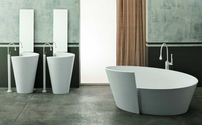 Vasca Anahita e lavabo freestanding Kon, Mastella Design