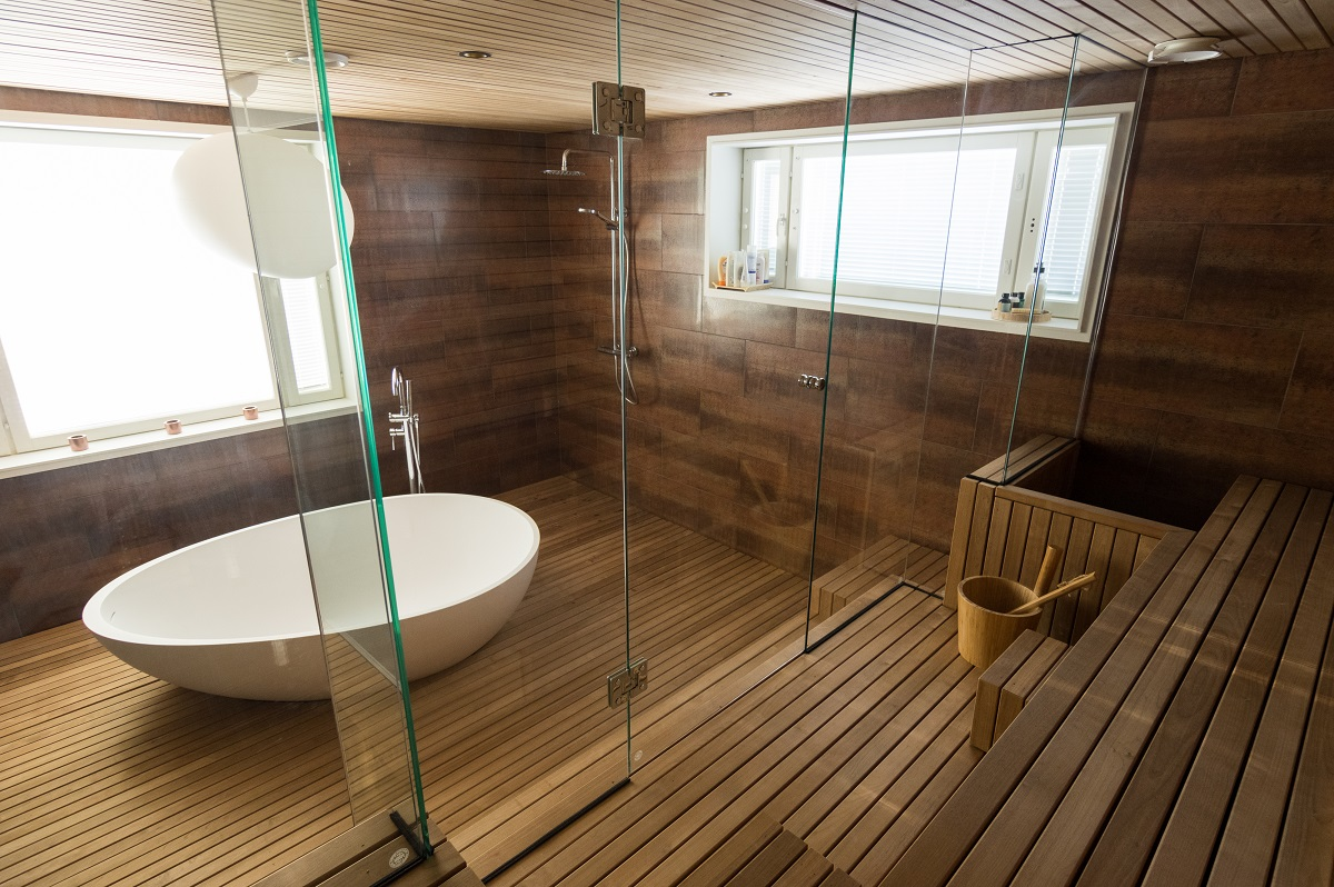 Wood in the bathroom walls floors and furniture